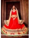 Exotic Red Embroidered Work A Line Lehenga Choli