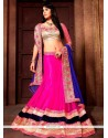 Exciting Patch Border Work Hot Pink A Line Lehenga Choli