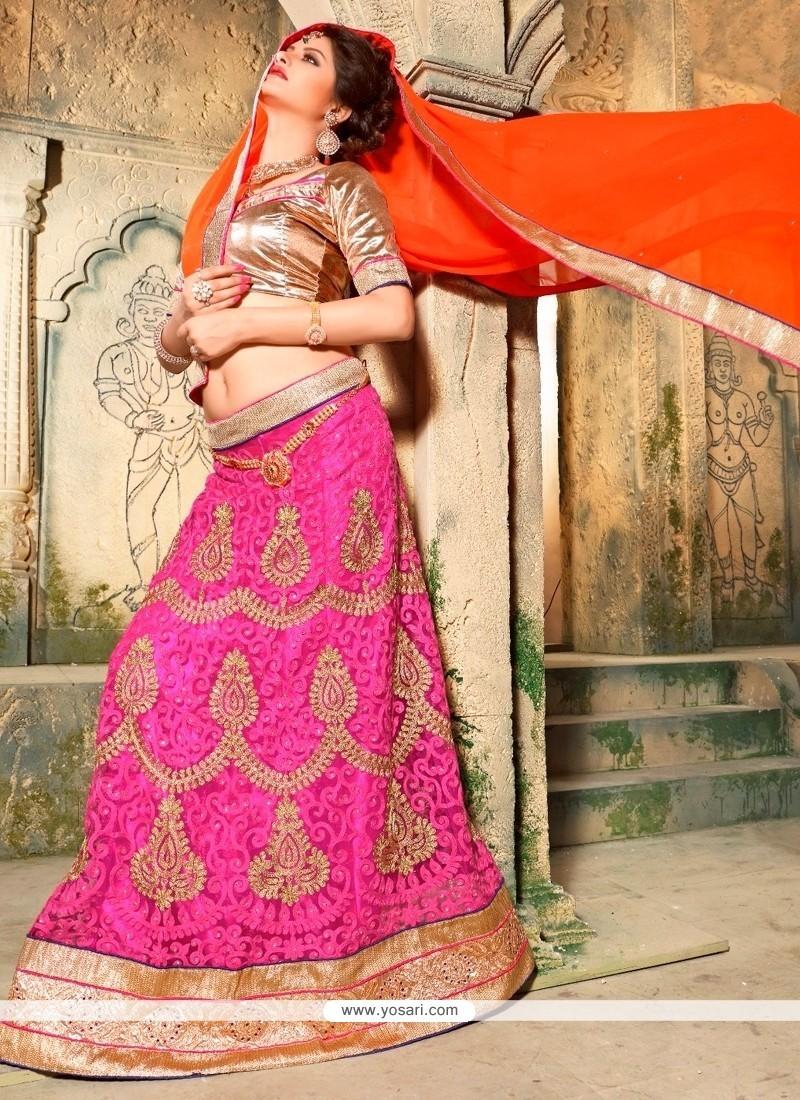 Surpassing Embroidered Work Pink Net A Line Lehenga Choli