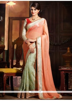 Imperial Peach Silk Half And Half Saree