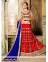 Vivacious Red Embroidered Work Net A Line Lehenga Choli