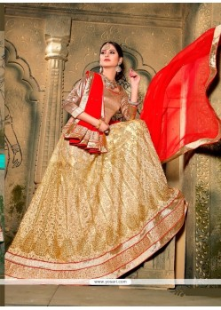 Haute Patch Border Work Beige A Line Lehenga Choli