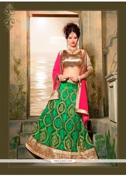 Distinguishable Green Patch Border Work Net A Line Lehenga Choli