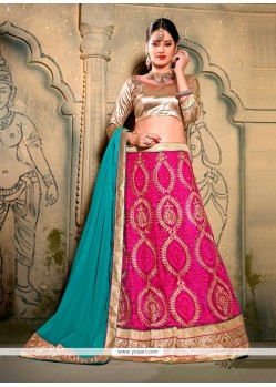 Arresting Hot Pink Embroidered Work A Line Lehenga Choli