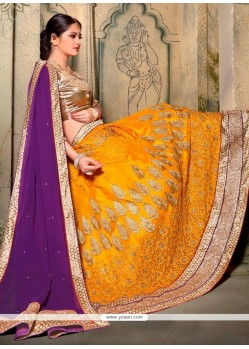Affectionate Mustard Patch Border Work A Line Lehenga Choli