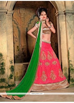 Astonishing Patch Border Work Pink A Line Lehenga Choli