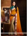 Beige And Orange Satin Half And Half Saree