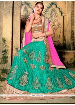 Majestic Sea Green Embroidered Work Net A Line Lehenga Choli