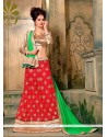 Phenomenal Net Red Embroidered Work A Line Lehenga Choli