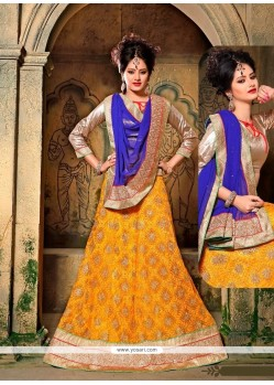 Mystical Multi Colour Embroidered Work A Line Lehenga Choli