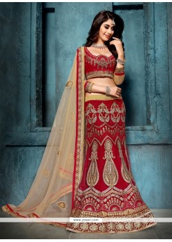 Especial Patch Border Work Maroon A Line Lehenga Choli