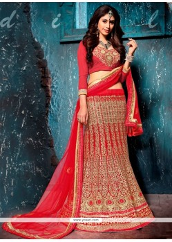 Prepossessing Net Embroidered Work A Line Lehenga Choli