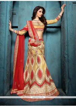 Eye-catchy Embroidered Work Net A Line Lehenga Choli