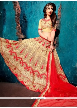 Cherubic Embroidered Work Beige A Line Lehenga Choli