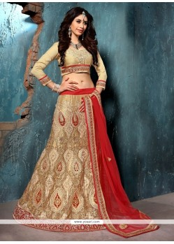 Ideal Net Beige Embroidered Work A Line Lehenga Choli