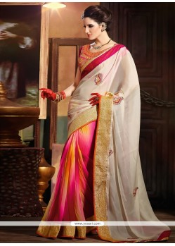 Off White And Pink Faux Georgette Half And Half Saree