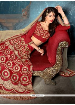 Arresting Net Embroidered Work A Line Lehenga Choli