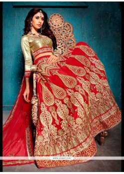 Royal Patch Border Work Red Net A Line Lehenga Choli
