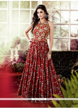 Multi Colour Cotton Embroidered Work Designer Gown