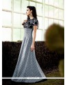 Grey Pure Crepe Patch Border Work Designer Gown