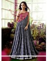 Monumental Faux Crepe Embroidered Work Designer Gown
