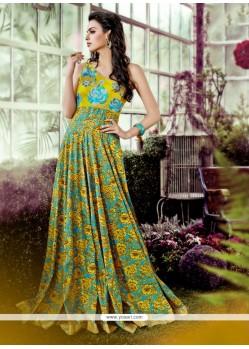 Praiseworthy Multi Colour Print Work Designer Gown
