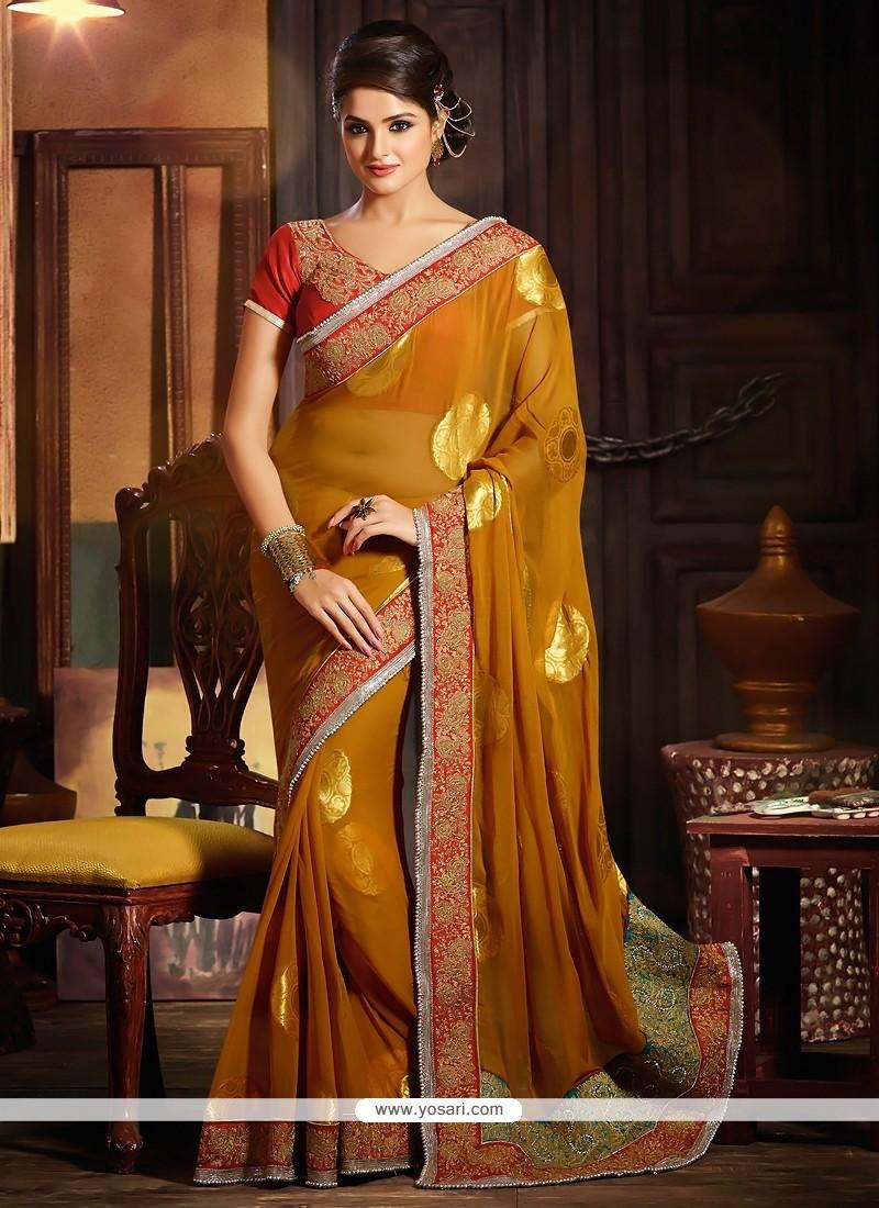 Glowing Orange Pure Georgette Designer Saree