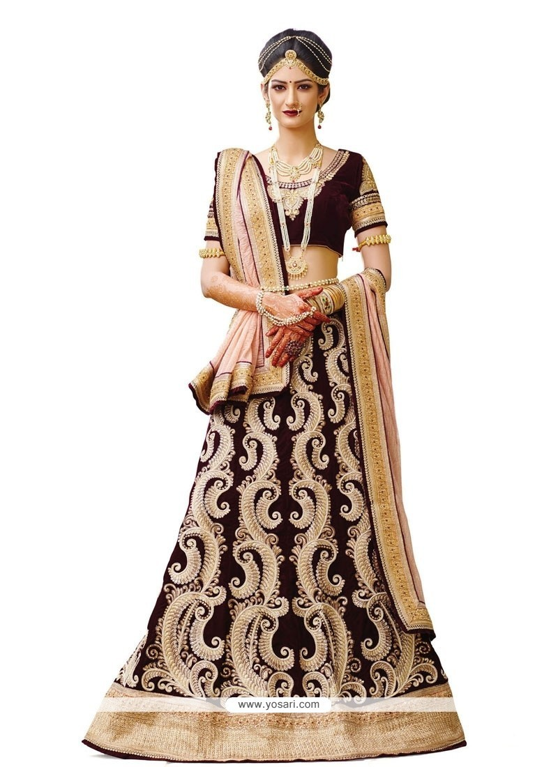 Titillating Wine Embroidered Work Georgette A Line Lehenga Choli