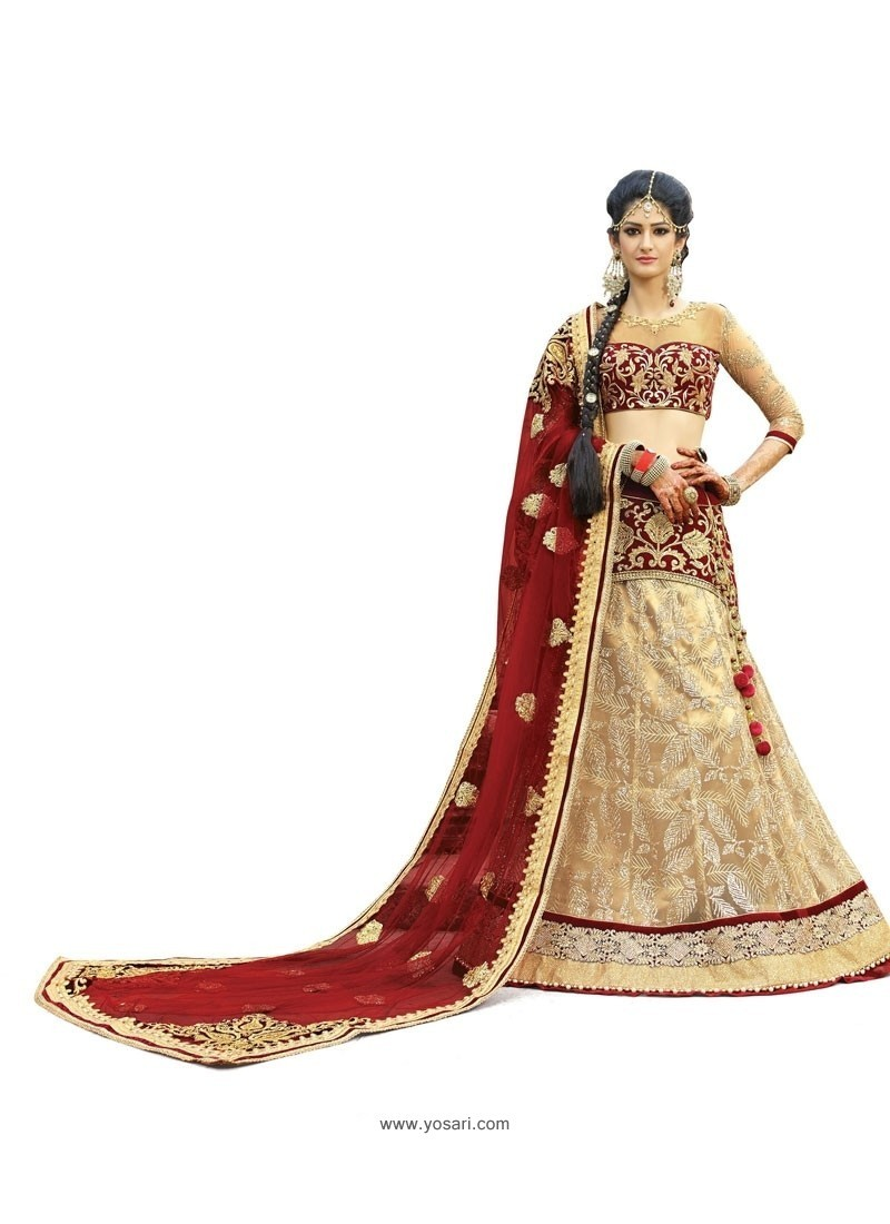 Remarkable Georgette Beige A Line Lehenga Choli