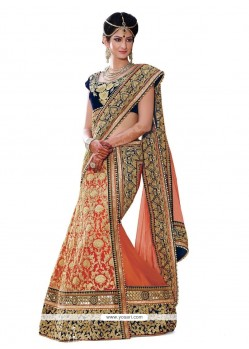 Charismatic Resham Work Navy Blue And Peach A Line Lehenga Choli