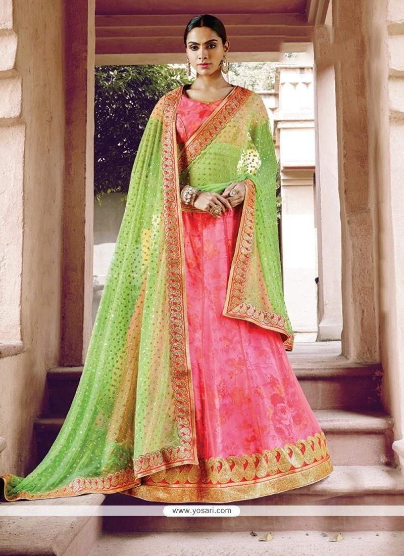 Outstanding Net Pink A Line Lehenga Choli