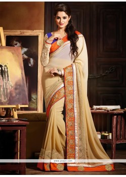 Genius Beige Shaded Georgette Designer Saree