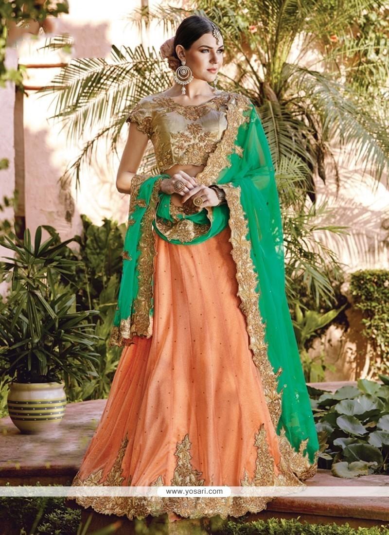 Groovy Green And Orange Lycra A Line Lehenga Choli