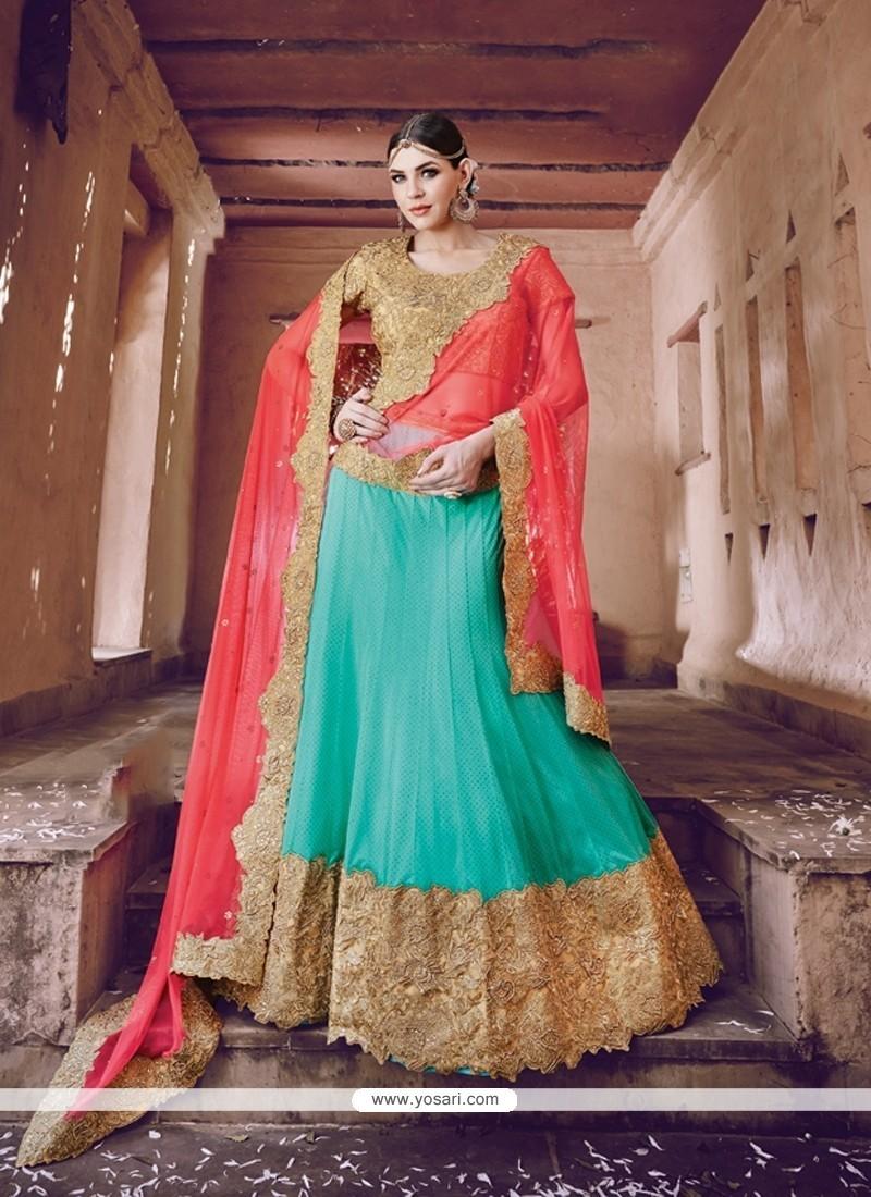 Excellent Turquoise Fancy Fabric A Line Lehenga Choli