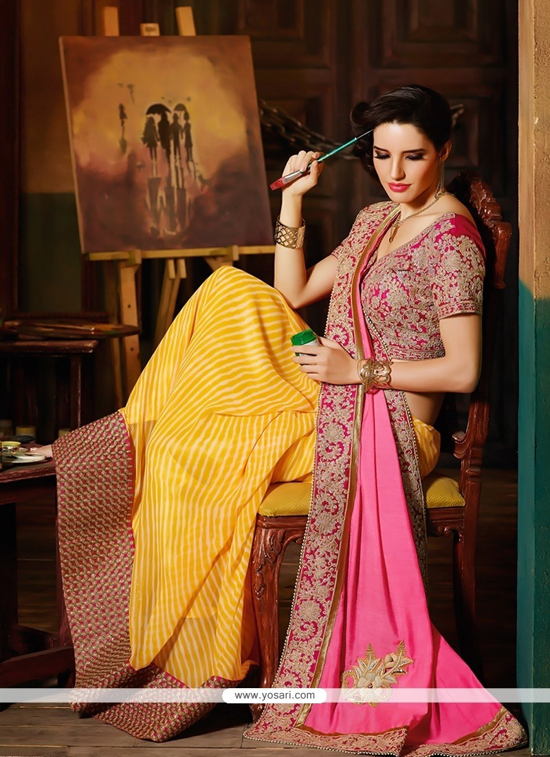 Pink And Yellow Embroidery Half And Half Saree