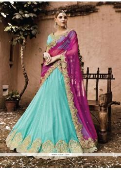 Pleasing Georgette Turquoise A Line Lehenga Choli
