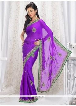 Deserving Violet Shaded Satin Saree