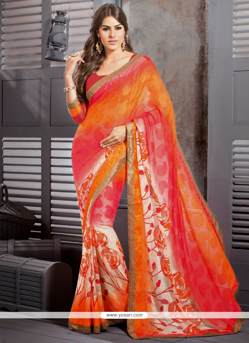 Pink And Orange Shaded Georgette Casual Saree