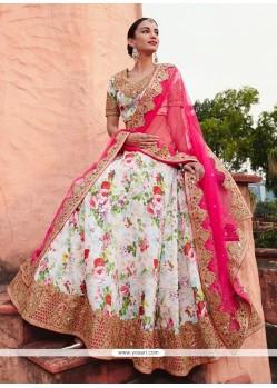 Fashionable Patch Border Work Multi Colour Jacquard A Line Lehenga Choli