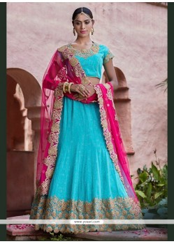 Exceptional Turquoise Patch Border Work Net A Line Lehenga Choli