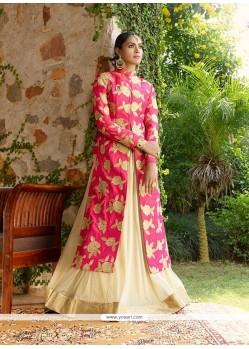 Phenomenal Net Hot Pink And Beige A Line Lehenga Choli