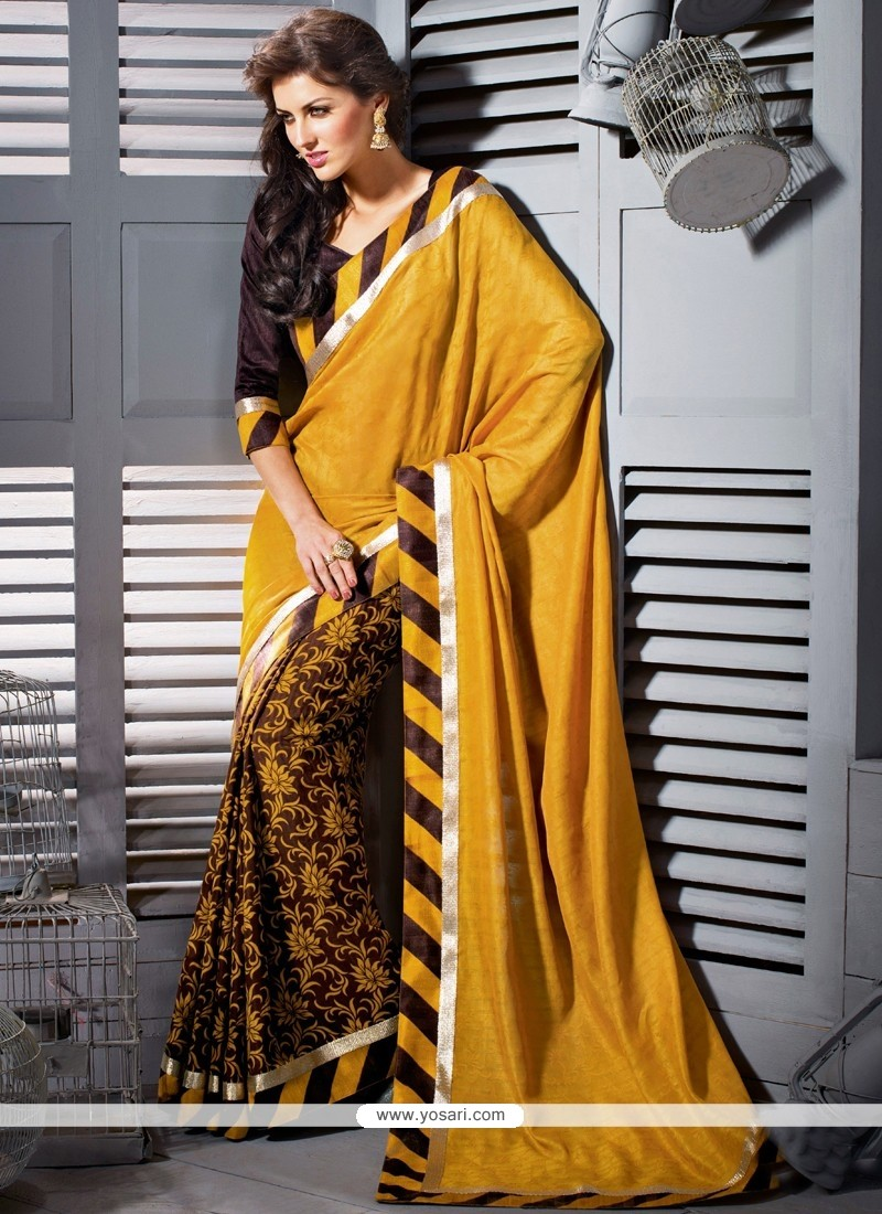 Modern Yellow Art Silk Casual Saree