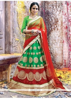 Fetching Net Patch Border Work A Line Lehenga Choli