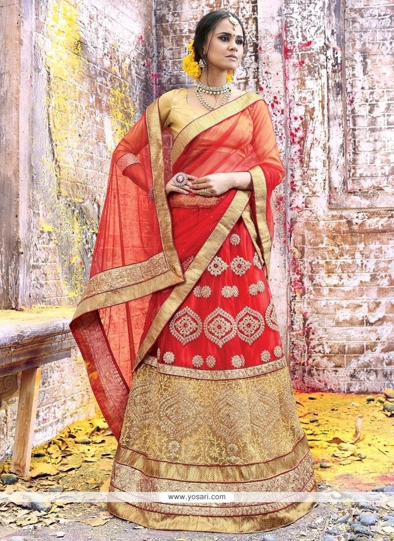 Prepossessing Net Embroidered Work A Line Lehenga Choli