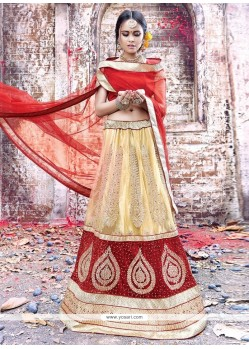 Impeccable Net Embroidered Work A Line Lehenga Choli