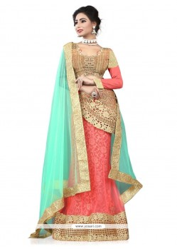 Jazzy Patch Border Work Net A Line Lehenga Choli