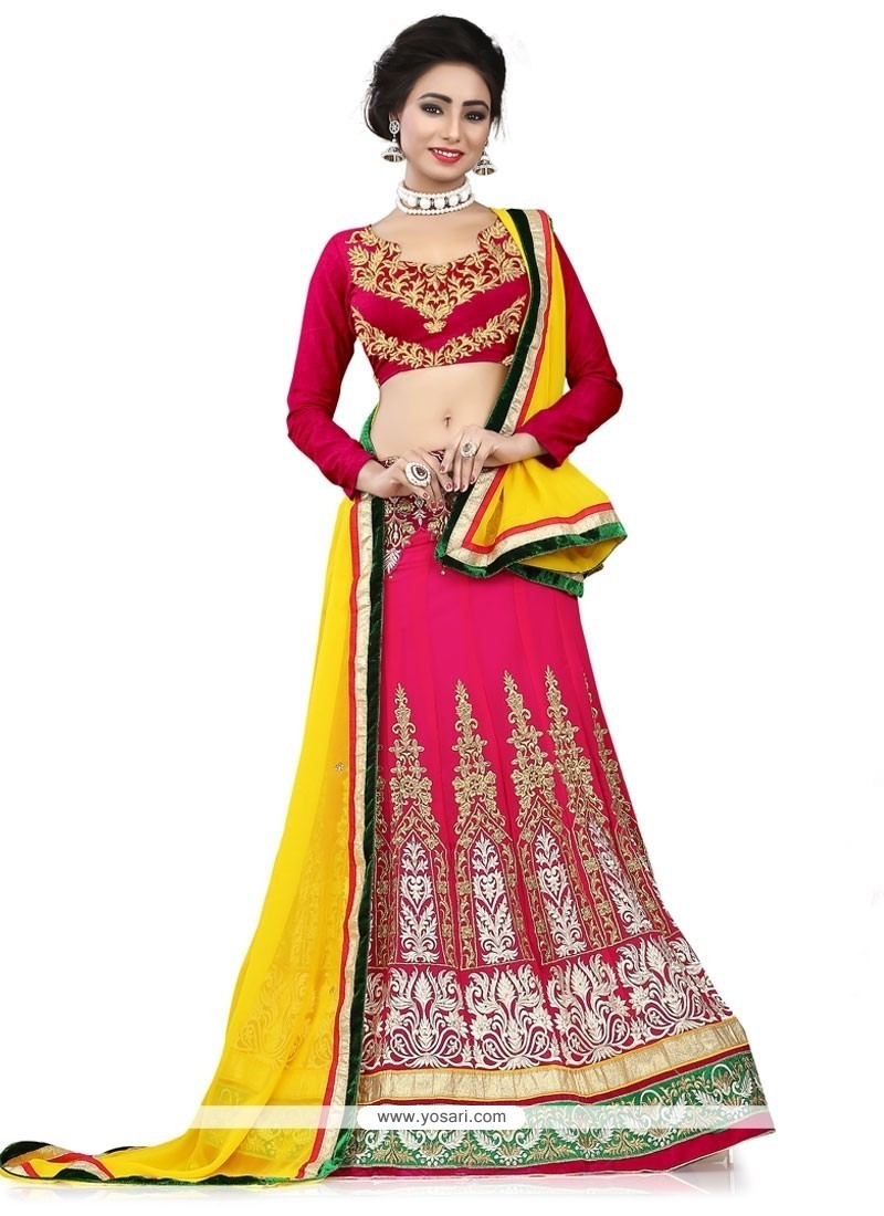 Exceptional Hot Pink Georgette A Line Lehenga Choli