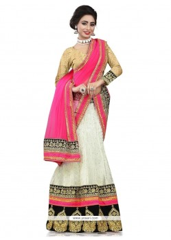 Gilded Net Patch Border Work A Line Lehenga Choli
