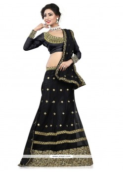 Voluptuous Net Black A Line Lehenga Choli
