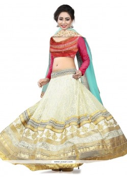Glorious Patch Border Work White A Line Lehenga Choli